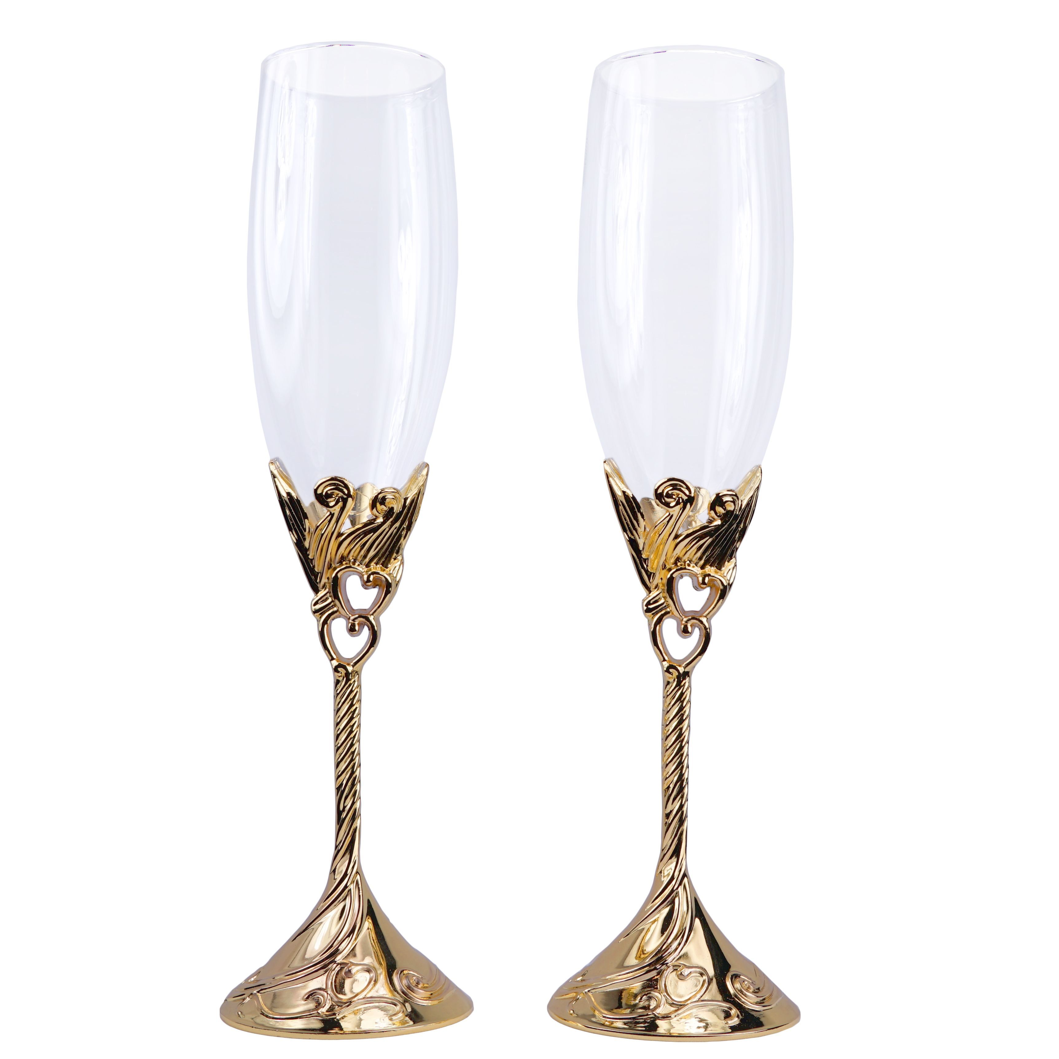 Hearts Wedding Toasting Flutes Champagne Glasses