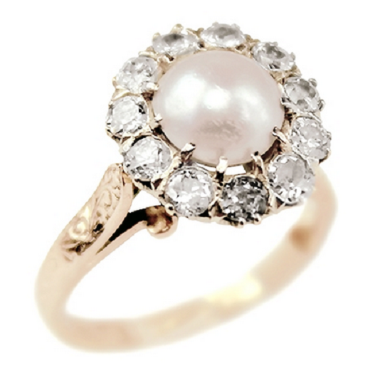 Pearl Engagement Rings Alivia Vintage And Diamond Ring Tlc