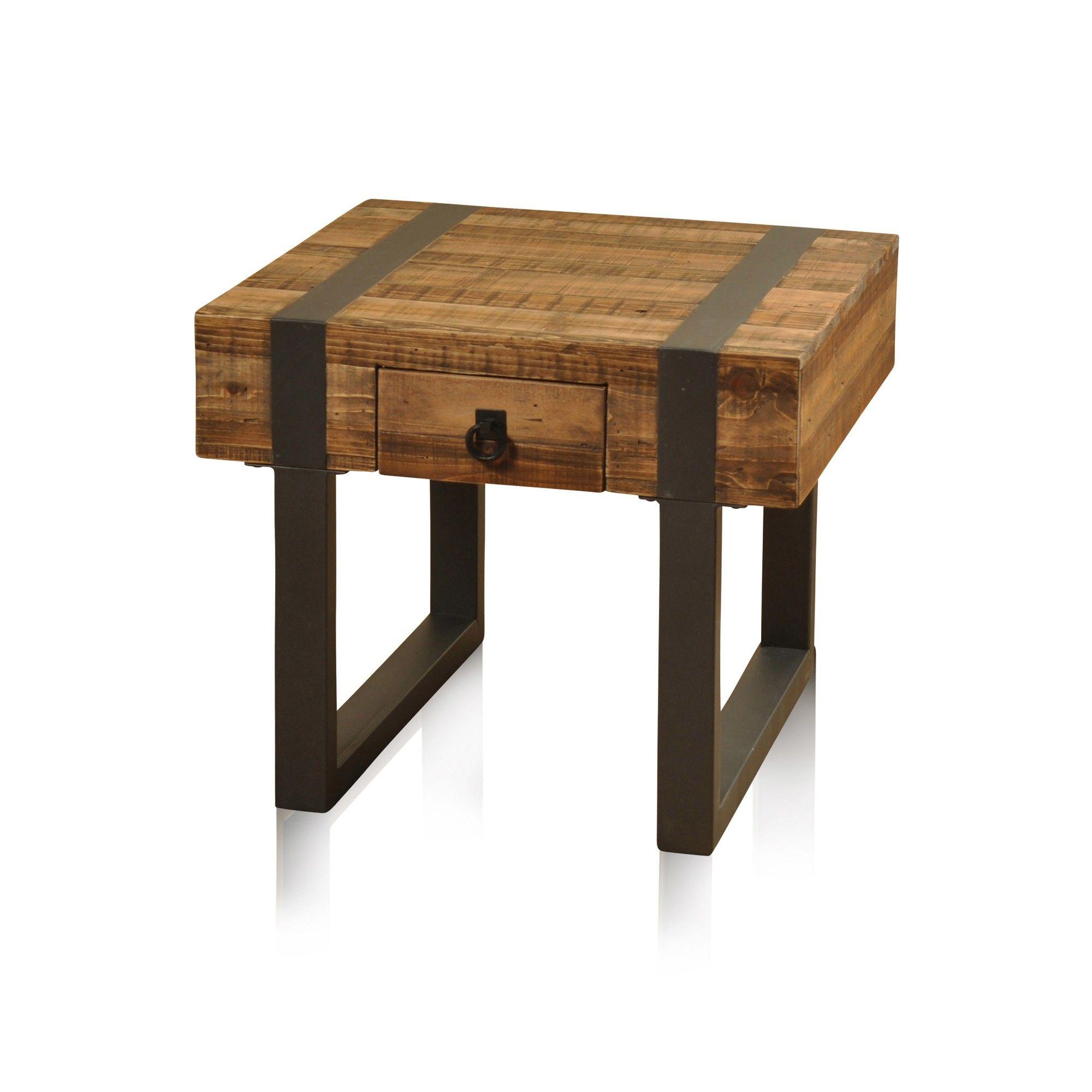 Walker Edison Modern Tray Top Square End Side Table Black Rustic Oak