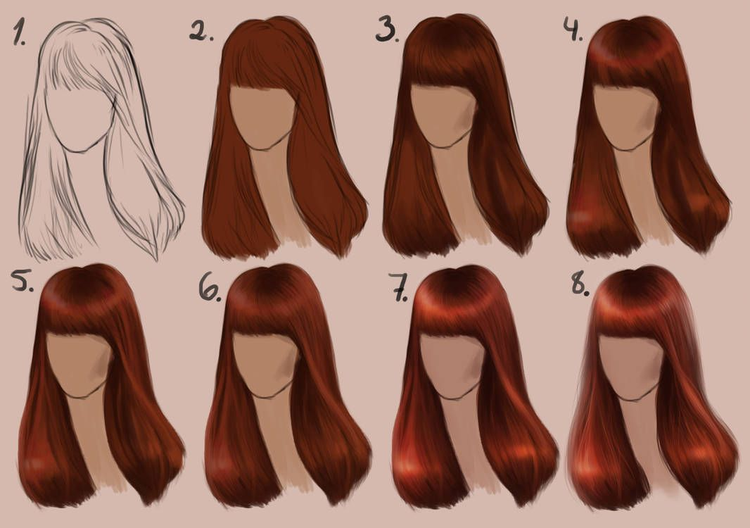 Semi Realistic Straight Hair Step By Step By Sandrawinther How To Draw Hair Step By Step Hairstyles Photoshop For Photographers