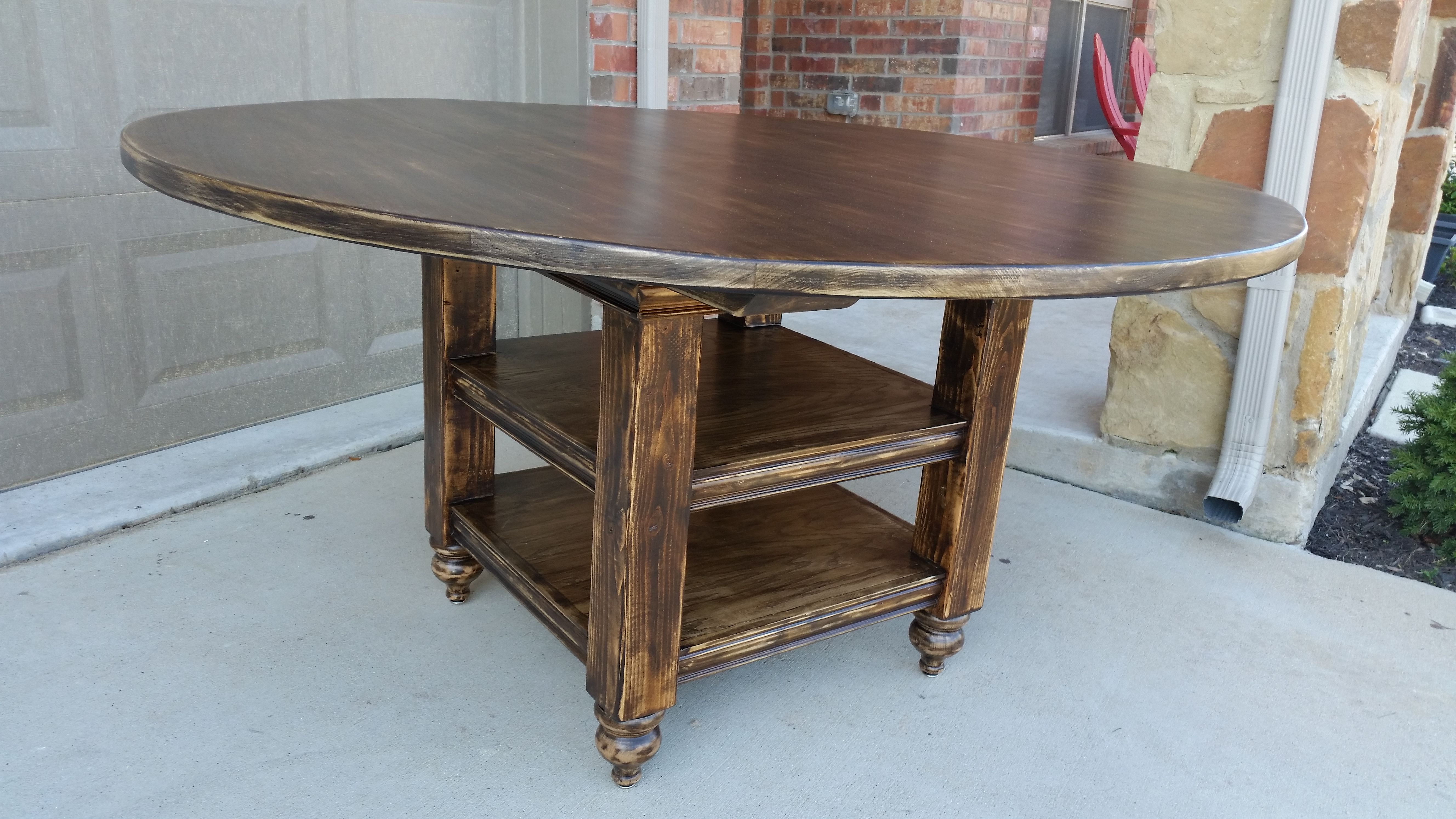 """The """"Cottage"""" table in Java Glaze with distressing by Chateau2shanty"""