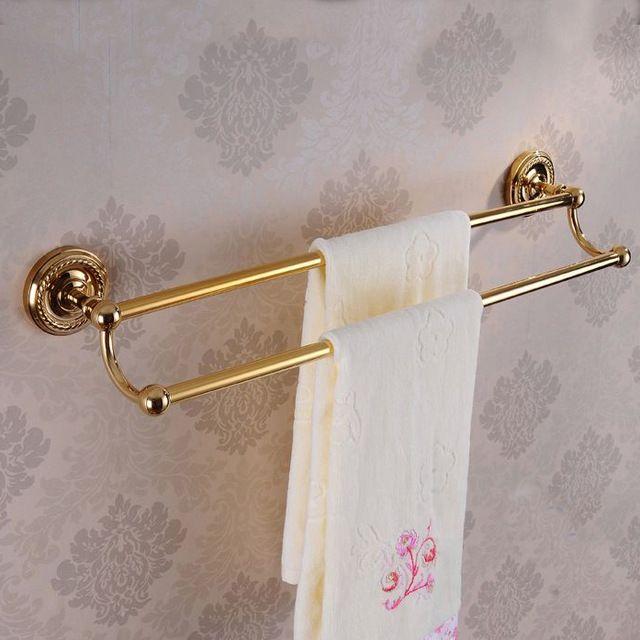 送料無料!浴室アクセサリー 。 ウォールマウントゴールデン真鍮ダブル タオル バー 。 卸売タオル バー 、 バス タオル ラック 。 HJ-1311K