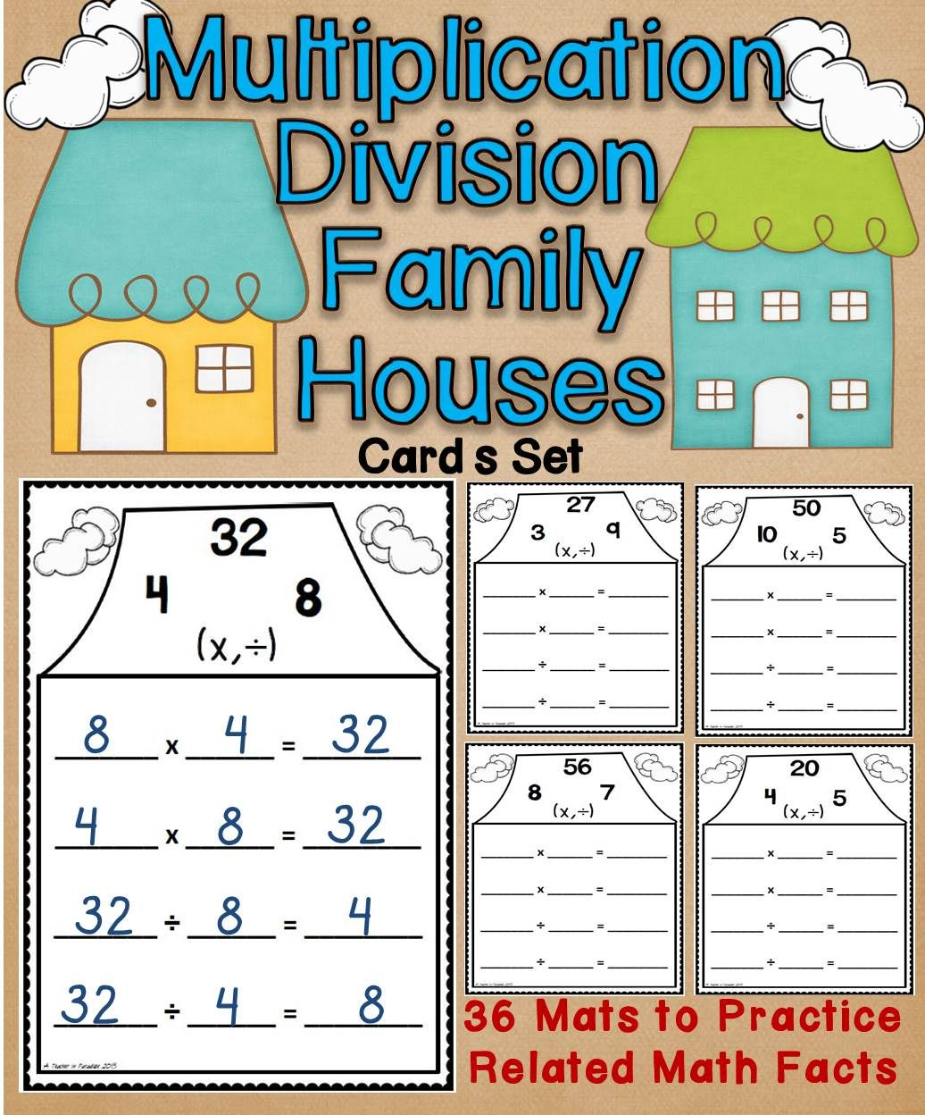 These multiplicationdivision family houses are a fun interactive multiplicationdivision fact families houses wipe off mats set gamestrikefo Gallery