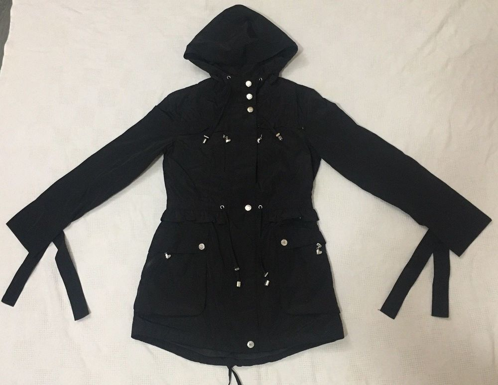 6f34f187f9 Betsey Johnson Black hooded ruffle faux fur lined anorak coat size extra  small  BetseyJohnson