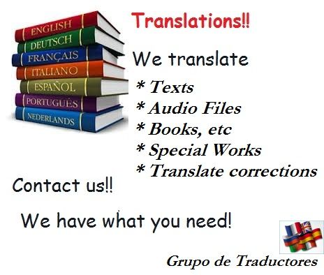 English advertaisement from Grupo de Traductores. https://www.facebook.com/rita.speratti