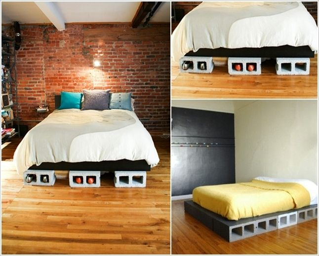 Diy concrete block bedframe footprints mattress and for Cheap ways to make a bed frame