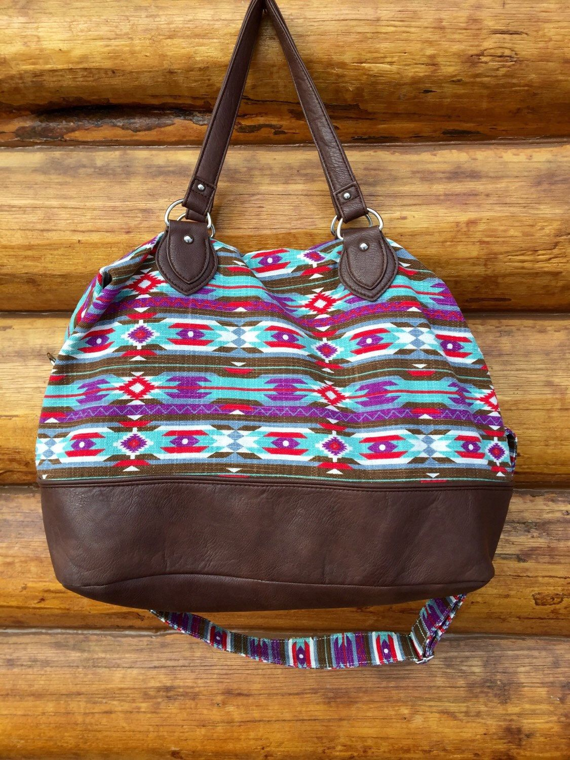 Multi Color Large Aztec And Faux Leather Duffle Bag