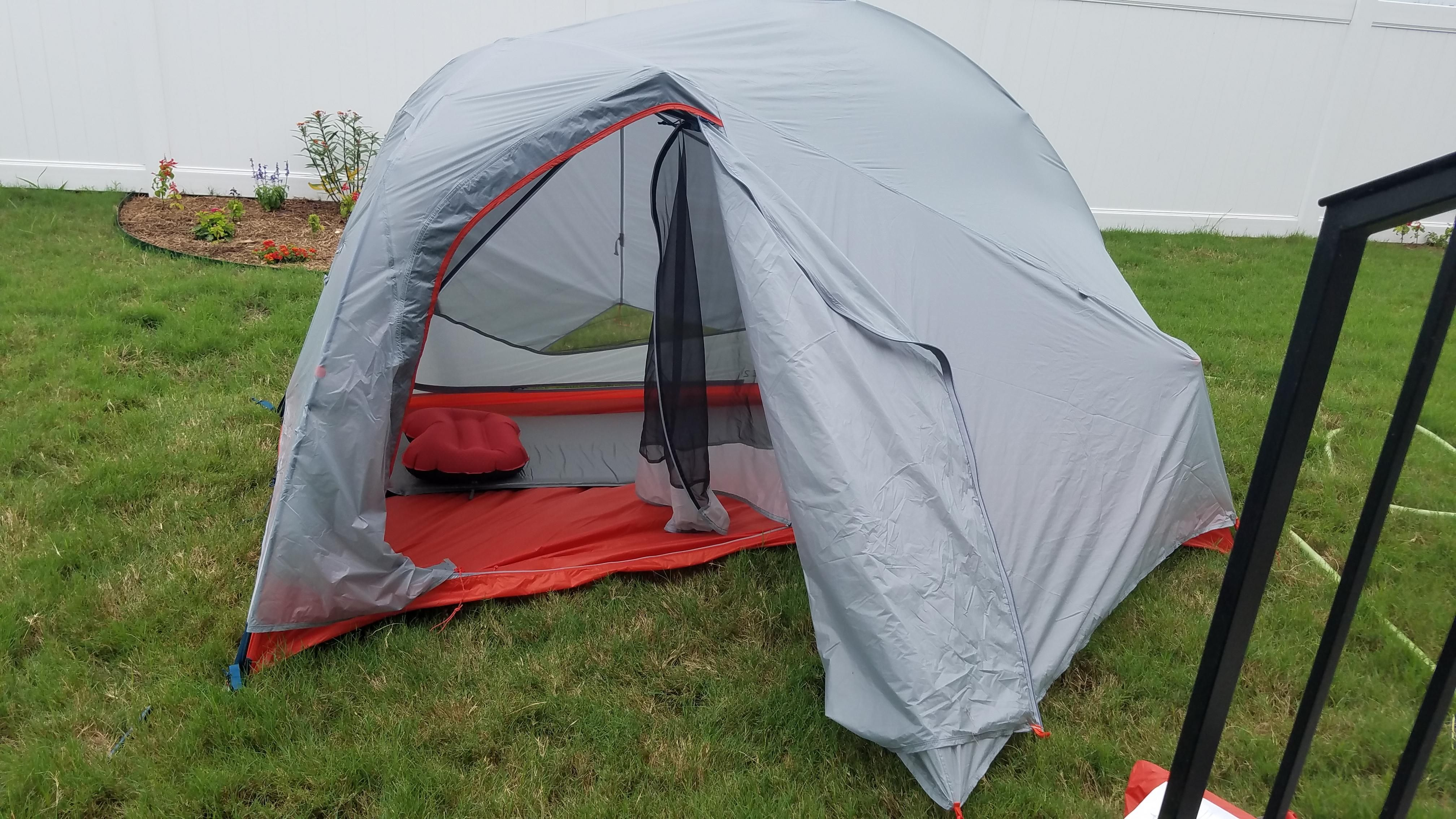 trying out our new rei quarter dome 2 in the back yard