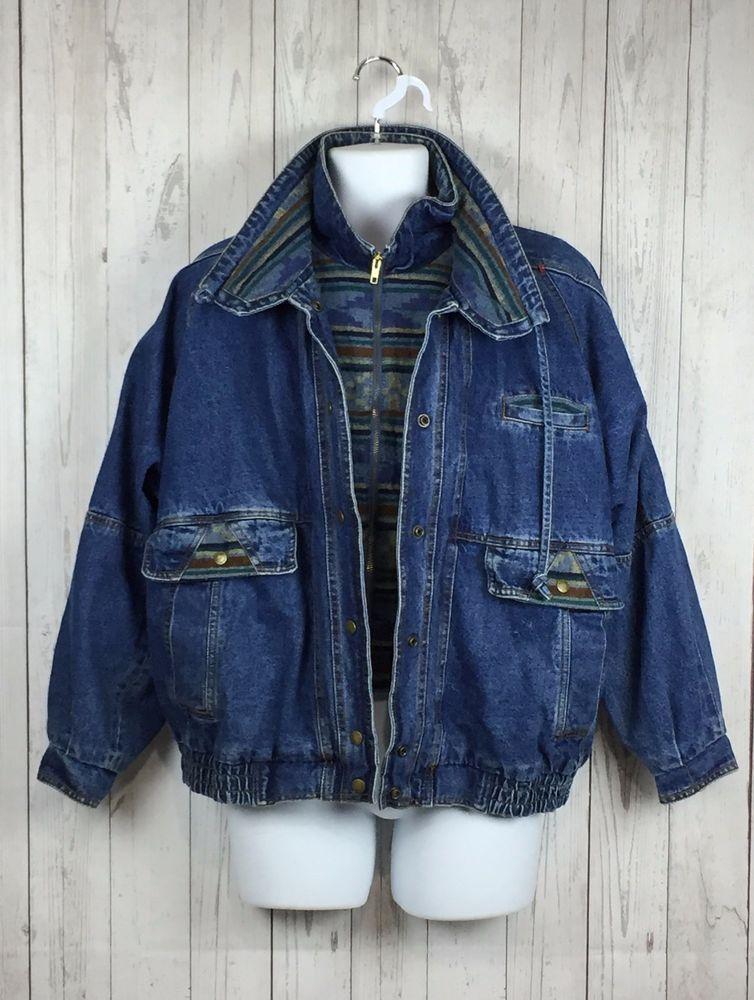 f1ab2bbc9c0 Current Seen Jean Jacket Womens Size M Heavy Blue Denim Western Aztec  Vintage
