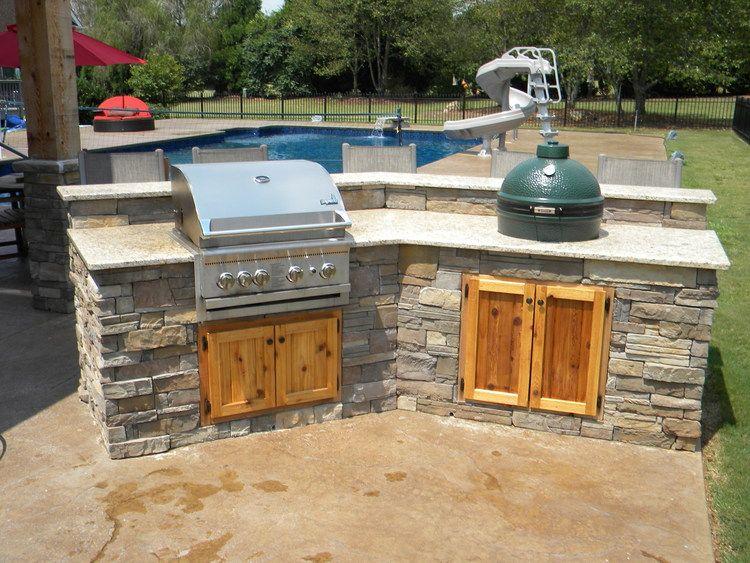 Backyard Built In Gas Grill Smoker Pinmydreambackyard Backyard Kitchen Outdoor Kitchen Outdoor Kitchen Design