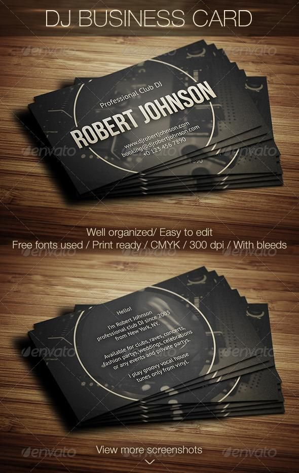 DJ Business Card Dj Business Cards Business Cards And Business - Card template free: dj business card template