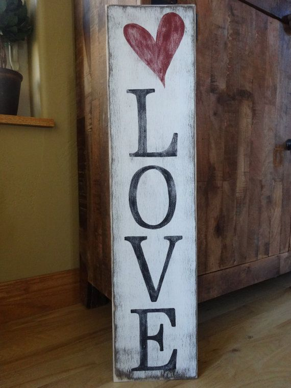Love Sign 10x40 Hand Painted Wood Sign Heart Wall Decor Valentines Day Sign Love Wall Decor Heart Sign Vertical Sign Diy Valentines Decorations Valentines Sign Valentines Diy