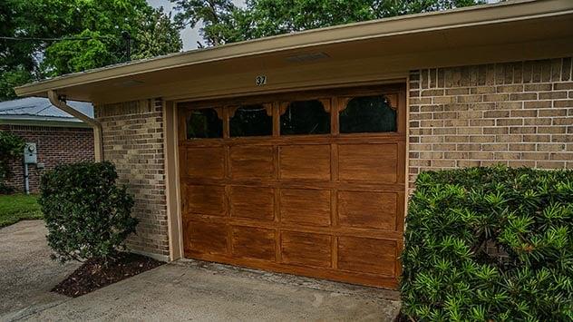 How To Paint Your Garage A Faux Wood Finish Today S Homeowner Garage Doors Garage Door Design Garage Door Styles