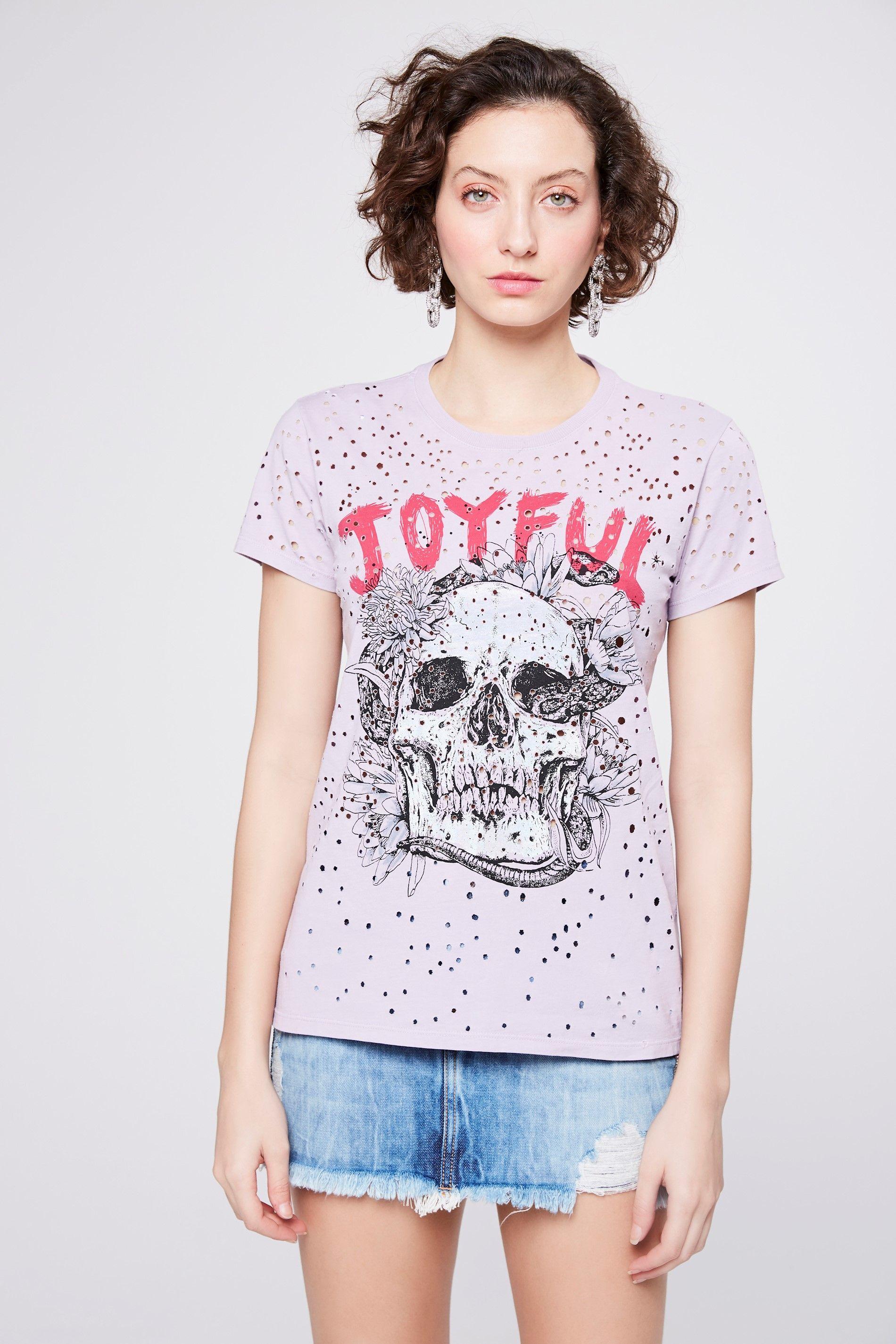 0f6b1bf38b Camiseta Destroyed Estampada Feminina - Damyller