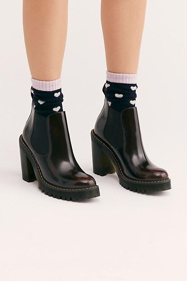 Dr.Martens Hurston Arcadia Leather Block Heel Chelsea Womens Boots