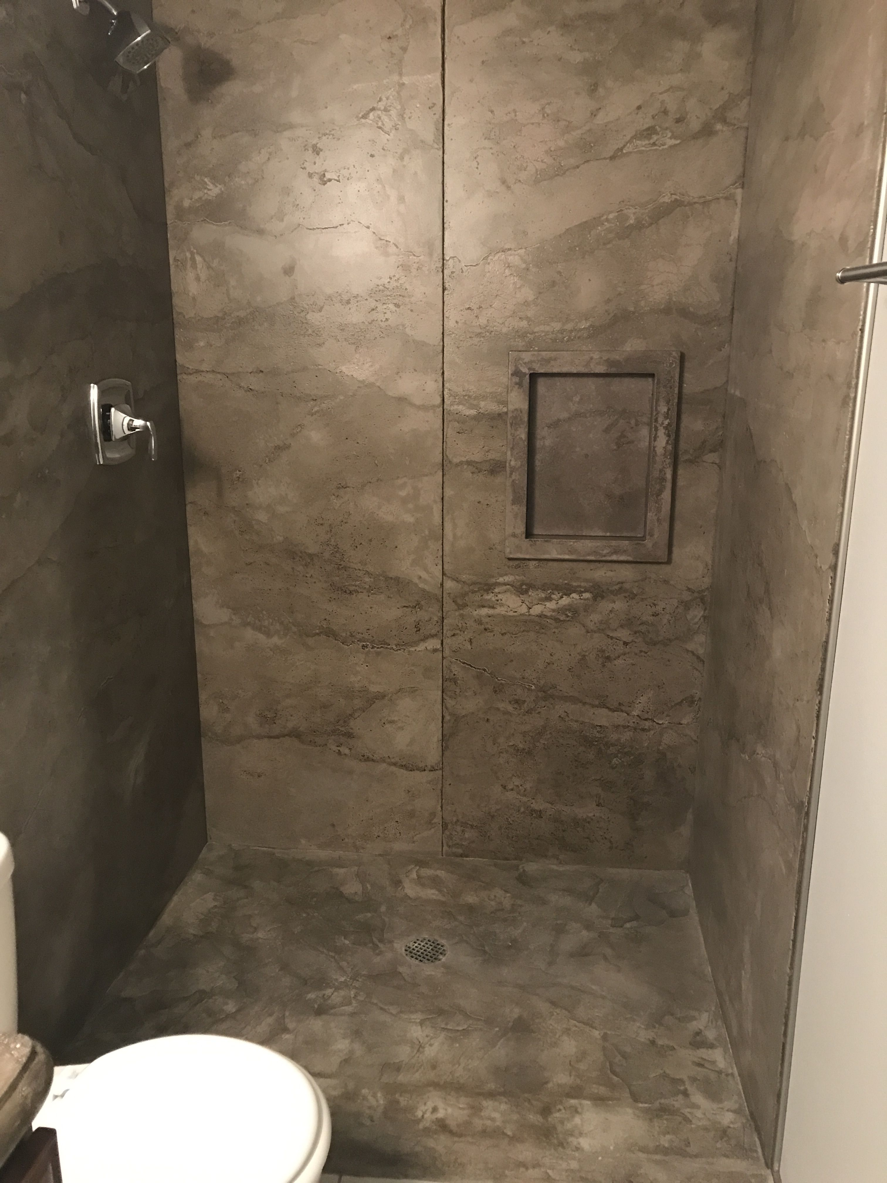 Concrete Shower 1 2 Panels With A Carved Concrete Shower Pan 3rd St Bathroom Wall Panels Concrete Bathroom Concrete Shower