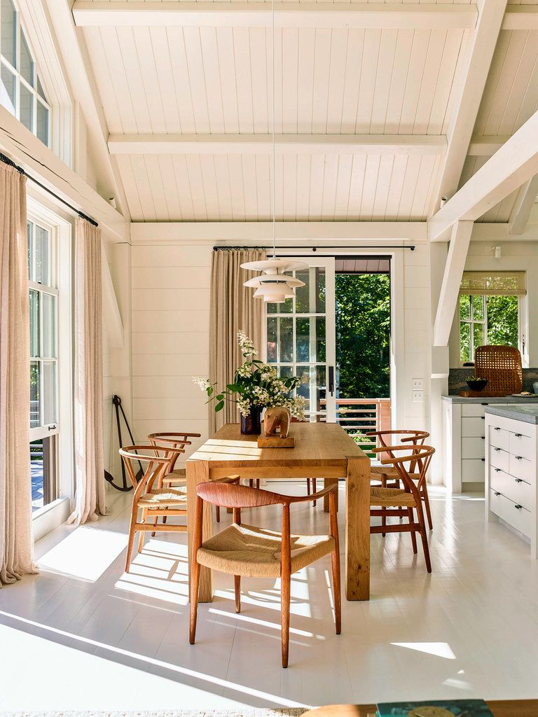A classical designerus modern house in maine mid century dining