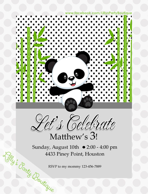 Boy Panda Birthday Invitations by LillysPartyBoutique on Etsy ...