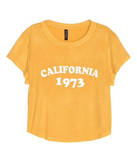 3cceafb2929b18 Short Jersey Top | Mustard yellow/California | Ladies | H&M US | A ...