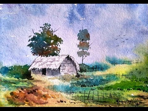 How To Draw A House Landscape In Watercolor Step By Step Youtu