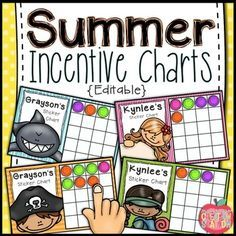 Summer Incentive Charts  Editableuse These Summer Camp Mermaid