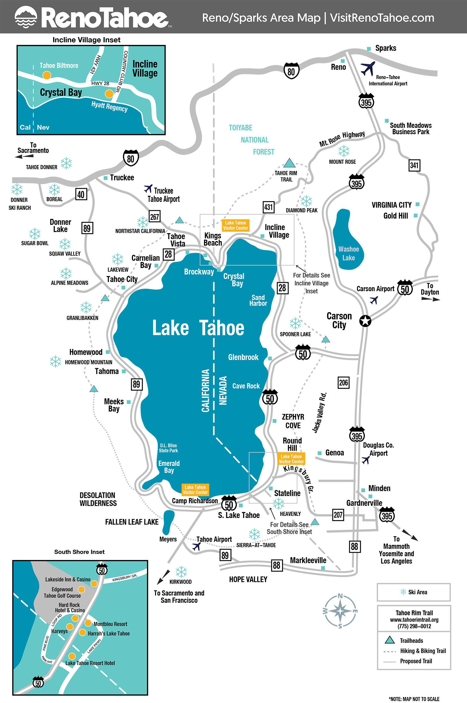Lake Tahoe Maps And Reno Maps With Images