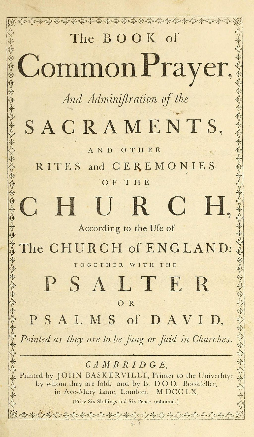Baskerville Book Of Common Prayer 1760 Wikipedia Common