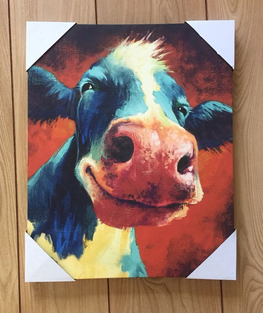 Dollar General Smiling Cow Canvas Painting Picture Print Farmhouse