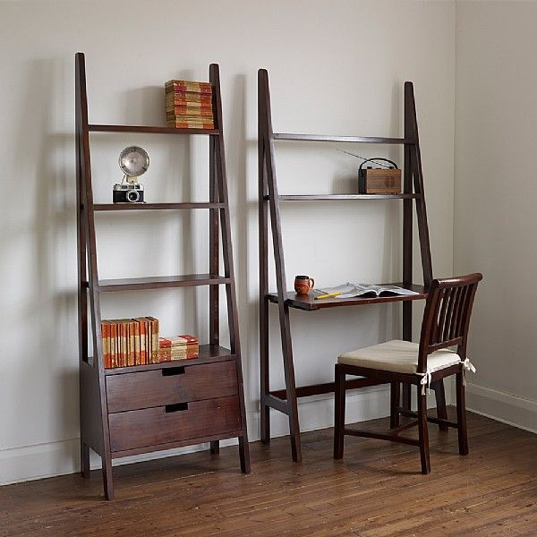Seba Dark Brown Ladder Bookcase With Drawers Bookcase With
