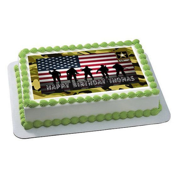 US ARMY Edible Birthday Cake Topper OR Cupcake Topper Decor