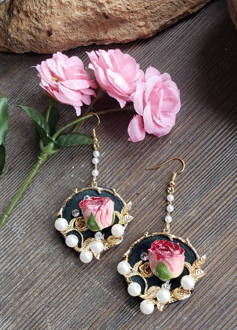 Rosebud Floral Design Earrings Floral Ceramic And Fabric Etsy In 2020 Floral Design Crystal Rhinestone Faux Pearl