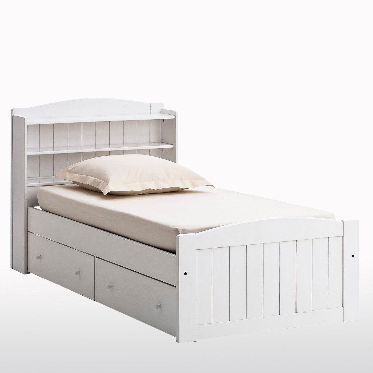 """Bett """"Gaby"""" mit Kopfteil und Schubladen, Kiefer massiv La ..."""