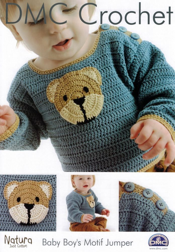 Photo of Details about DMC: Baby Boy's Motif Jumper Crochet Pattern