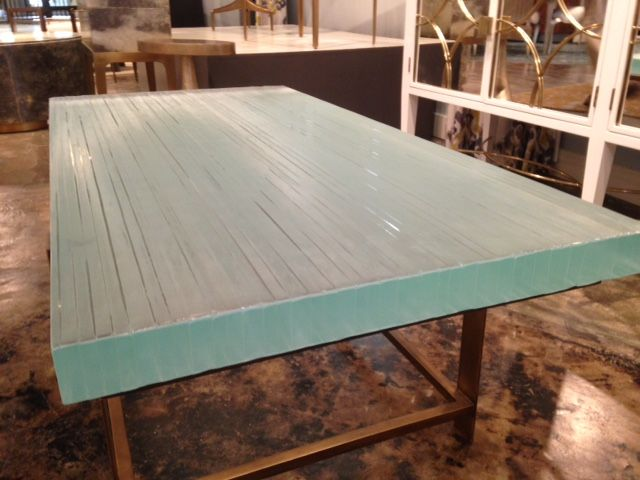 Our Beautiful Stacked Glass Table Top, Thick On A Beautiful Alden Parkes  Metal Base In The Alden Parkes Showroom At The High Point Home Furnishings  Market.