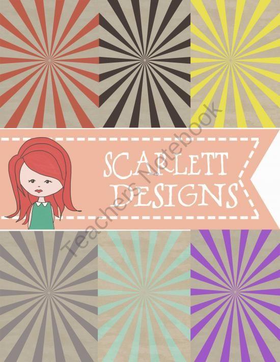 Burst Digital Paper product from Scarlett-Design on TeachersNotebook.com
