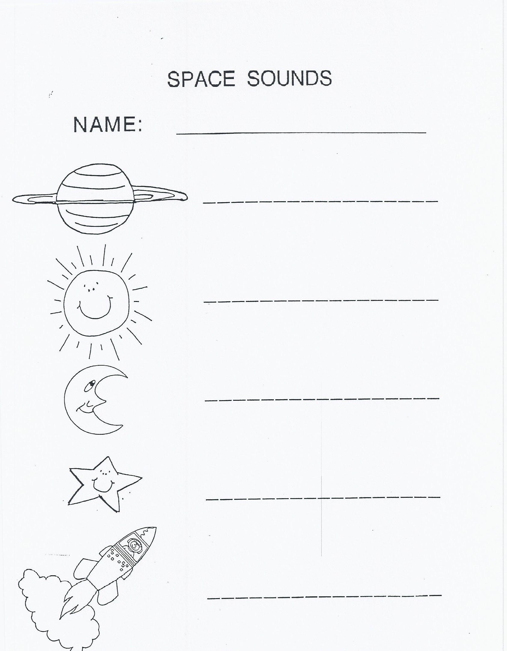 Write Space Words Worksheet