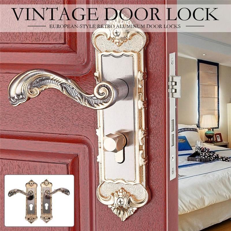 1 Set European Style Vintage Door Lock Retro Bedroom Door Handle