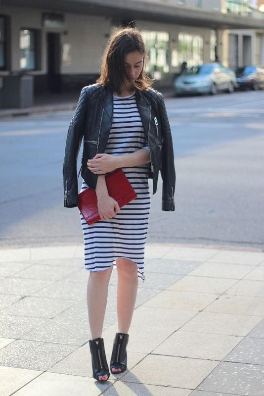 BALENCIAGA QUILTES LEATHER JACKET, BASSIKE STRIPE DRESS, SAINT LAURENT BELLE DU JOUR CLUTCH, GIVENCHY HEELS