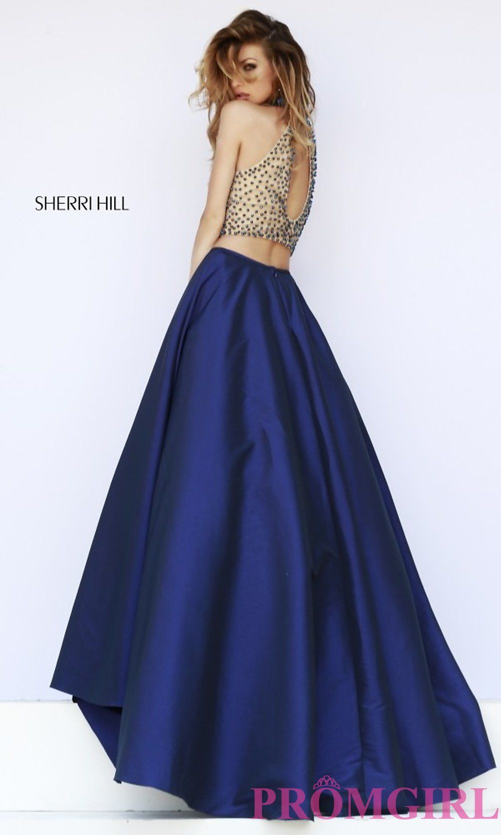 Beaded 2015 Sherri Hill 32110 Nude Navy Two Piece Evening Gown