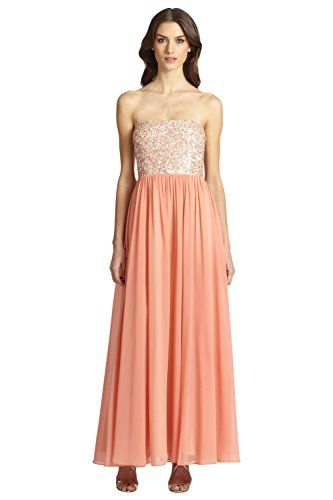 Aidan Mattox Shimmering Embellished Chiffon Strapless Eve Gown Dress -- Read more reviews of the product by visiting the link on the image.