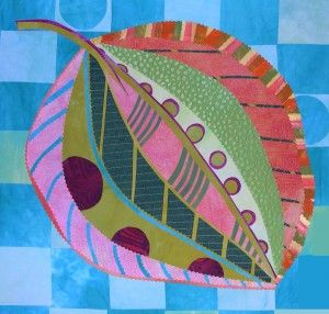 Colorful Leaves: gorgeous quilt made by Laura Wasilowski. She adds embroidery stitches to fused fabric. Brilliant!