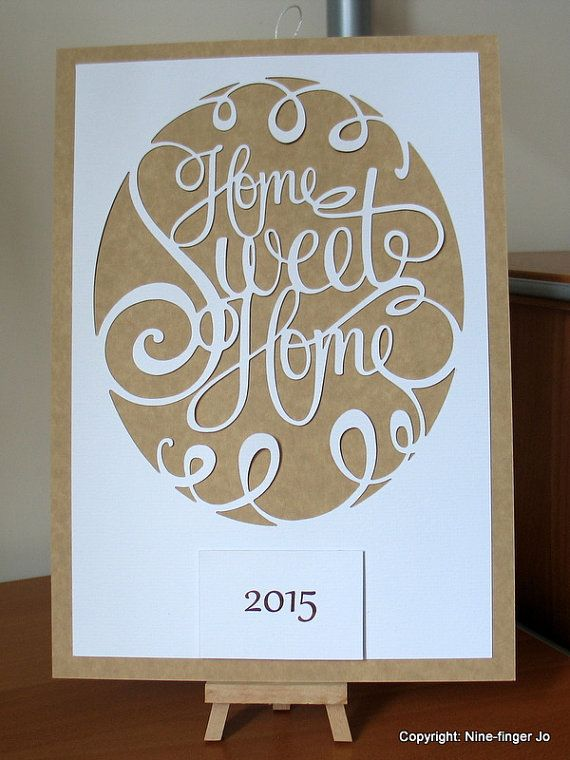 Home sweet home papercut from warm white card on teal, purple or ...