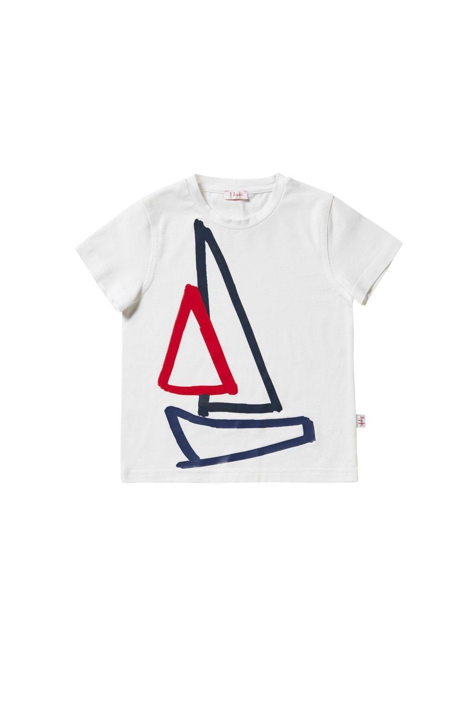 Tshirt stampa barca a vela blu e rossa bambino il gufo