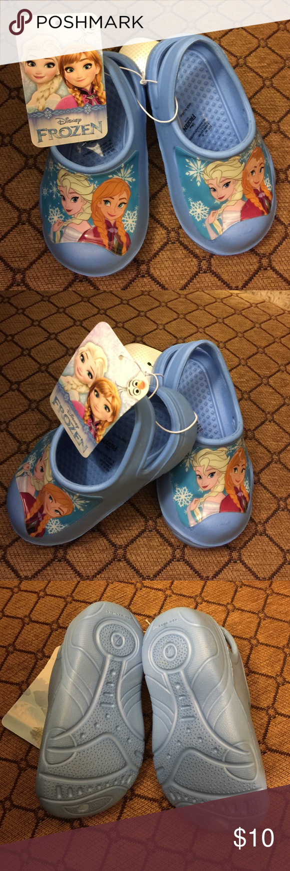 Shoe Disney Frozen kids clog for size 7-8 in sky blue color.  Brand new never been worn. Excellent condition. No Trades. Disney Frozen Shoes Mules & Clogs