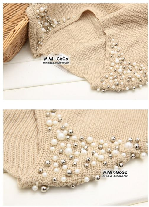 sweater decoration with beads and pearls | Bordado | Pinterest ...