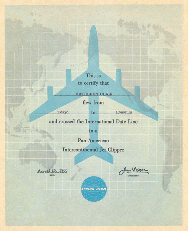 Pan Am flight certificate 1960 certifies crossing the