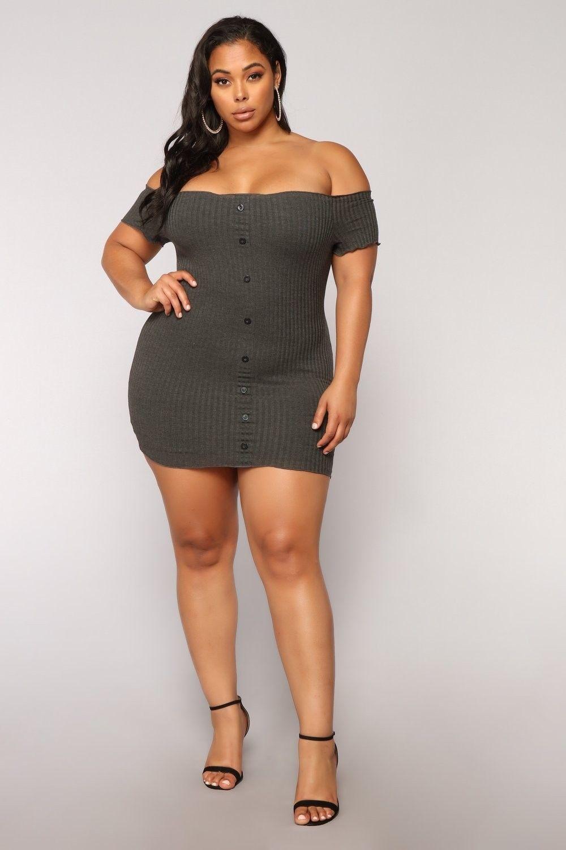 plus size katherine off shoulder mini dress - charcoal $27.99