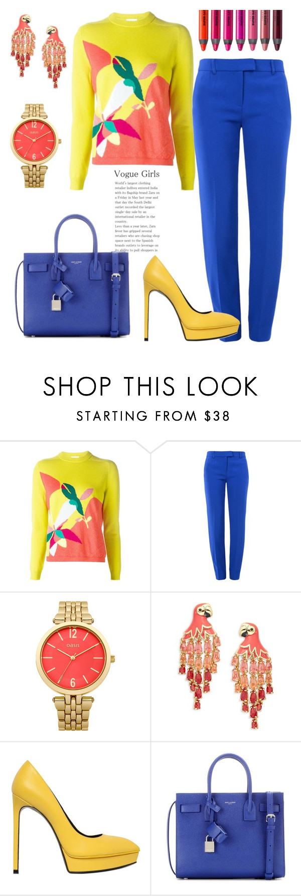 """""""Color. Yes!"""" by gatocat ❤ liked on Polyvore featuring Delpozo, Boutique Moschino, Oasis, Kate Spade, Yves Saint Laurent and Urban Decay"""