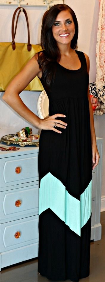Black & Mint Chevron Maxi