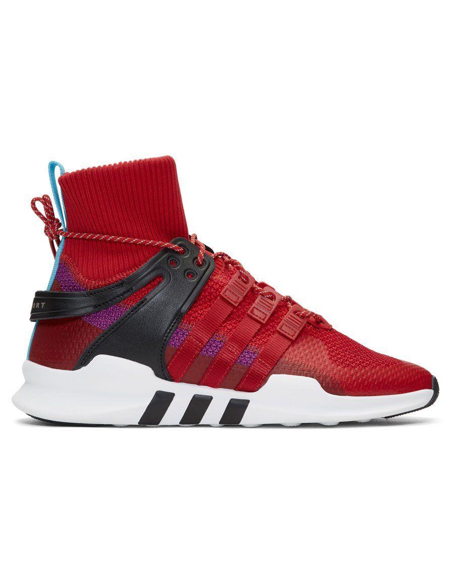 adidas red & viola eqt appoggio avanzata invernale sneakers alte